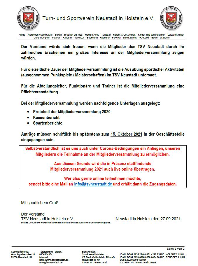 Mitgliederversammlung am Freitag, dem 29. Oktober 2021